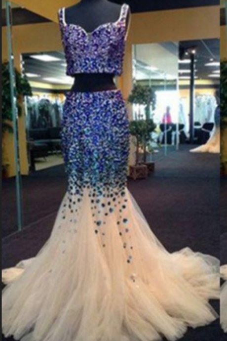 Trumpet/Mermaid Sleeveless Natural Prom Sweep/Brush Train Prom Dresses