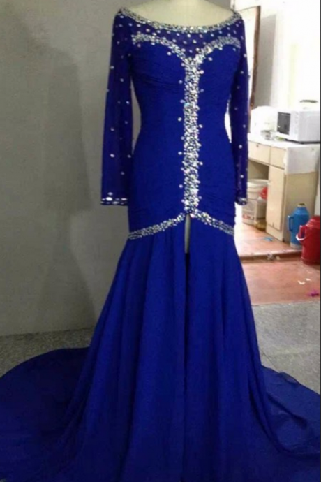 Luxury Original Royal Blue Black Mermaid Evening Dress Long Sleeves Split Front Crystal Pageant Prom Dress