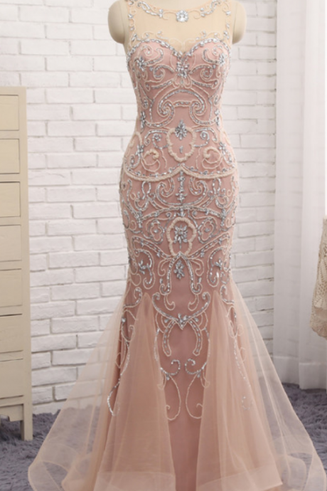 Cheap prom dresses ,Mermaid Dubai Long Evening Dresses New Blush Crystal Beaded Pearl Sheer Prom Dress