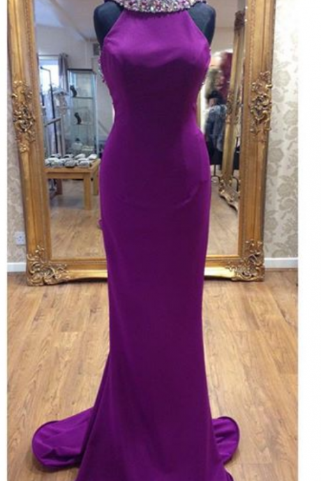 Purple Prom Dresses,Mermaid Long Prom Dress,Evening Dresses
