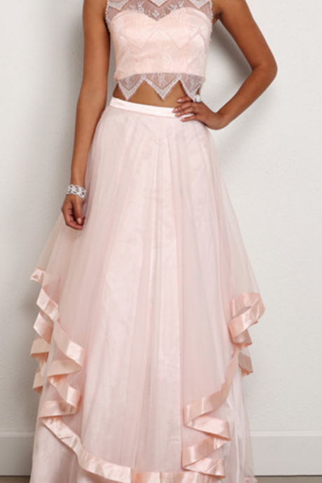 Cheap prom dresses ,Two Pieces Prom Dress,Pink Prom Dress,Illusion Prom Dress,Fashion Prom Dress,Sexy Party Dress, New Style Evening Dress
