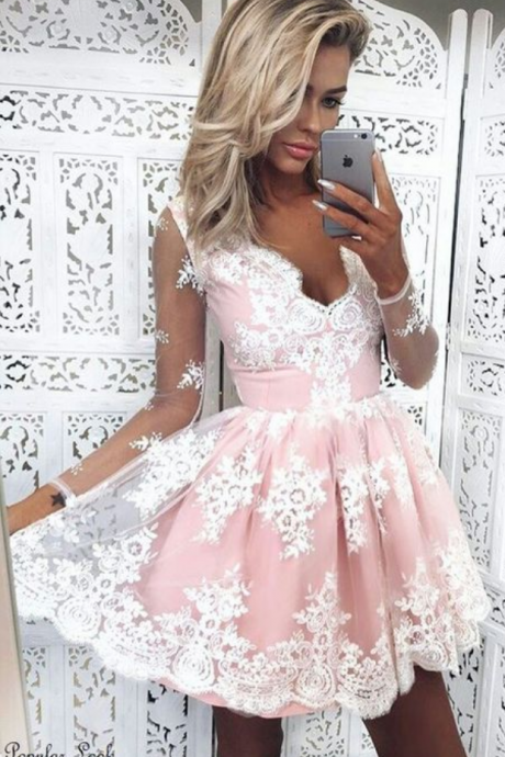 Cute A-Line V-Neck Long Sleeves Pink Lace Short Homecoming Dress