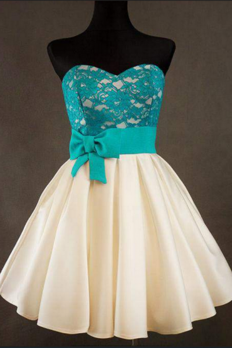 Lace Homecoming Dress with bowknot, Short Cute Homecoming Dresses,Dress For Homecoming