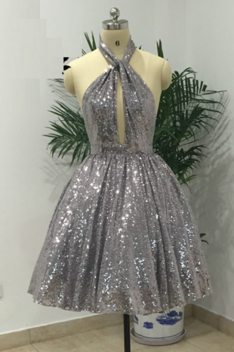 Sexy Grey Halter Backless Short Homecoming Party Dresses A Line Sequins