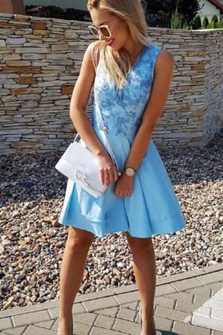 Women's Baby Blue Lace V-Neck Homecoming Dress,Sleeveless A-Line Short Party Dress