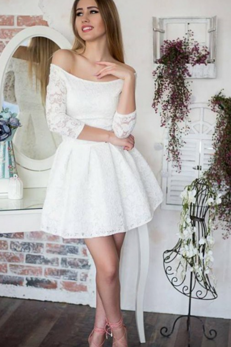 Little White Dresses,Off Shoulder Homecoming Dresses,Lace Homecoming Dresses,A-line Homecoming Dresses