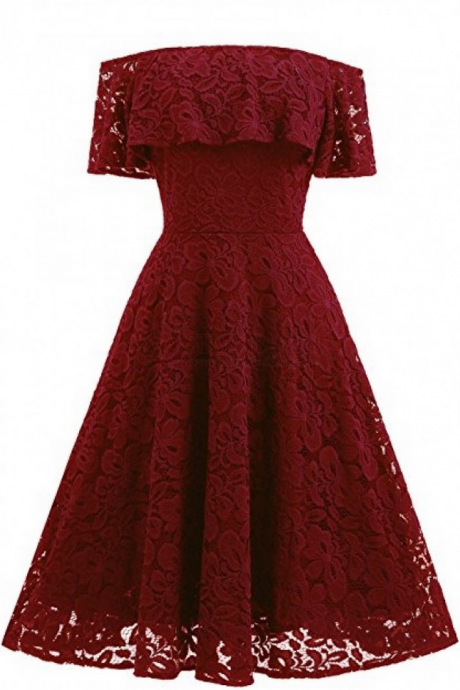 Burgundy Homecoming Dresses,A-line Homecoming Dresses,Lace Homecoming Dresses,Off Shoulder Homecoming Dresses,Short Prom Dresses,Party Dresses