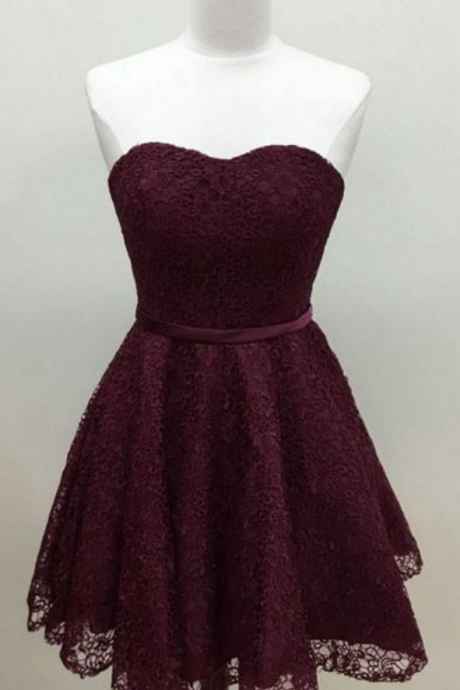 Elegant Homecoming Dresses,A-line Homecoming Dresses,Lace Homecoming Dresses,Burgundy Homecoming Dresses,Short Prom Dresses,Party Dresses