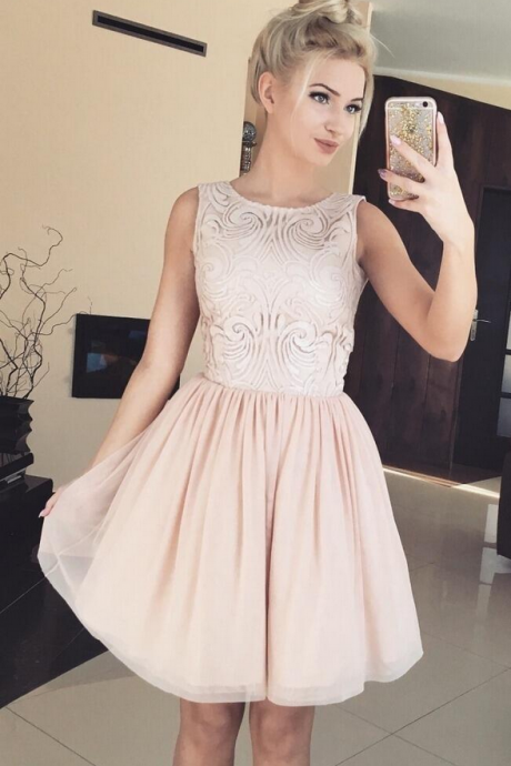 Cheap homecoming dresses ,Lace Homecoming Dresses,Elegant A-Line Jewel Sleeveless Short Homecoming Dress With Lace