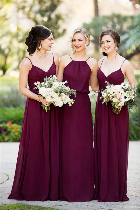 Grape Fashion A-Line Spaghetti Straps/Halter Floor-Length Burgundy Bridesmaid Dress