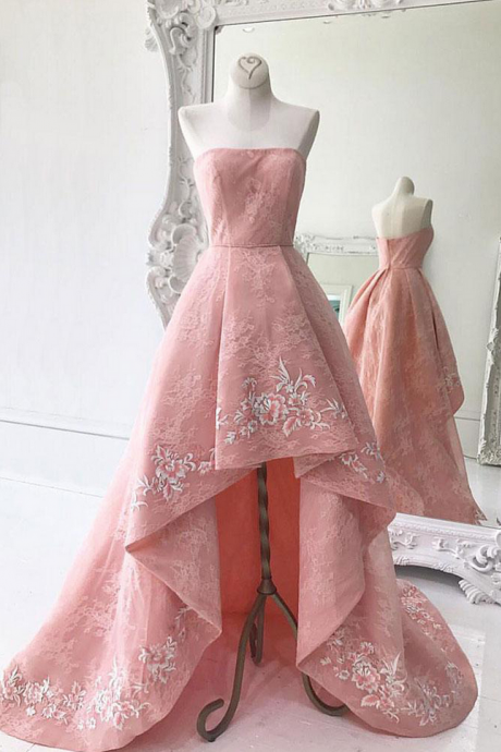 Strapless Homecoming Dresses,High Low Homecoming Dresses,Satin Homecoming Dresses,Embroidery Homecoming Dresses,Short Homecoming Dresses,Short Prom Dresses,Party Dresses, Cocktail Dresses