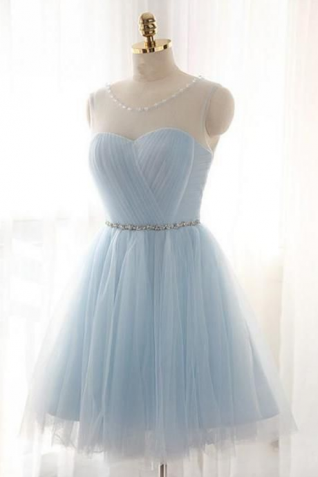 A-Line Jewel Light Blue Tulle Short Homecoming Dress with Beading Pleats,Short Homecoming Dresses , Juniors Homecoming Dresses, Cheap Homecoming Dresses,Dresses For Homecoming