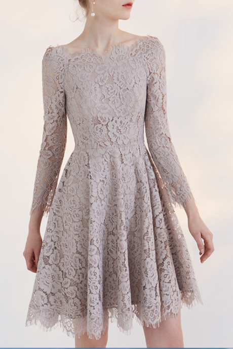 Homecoming Dresses With Sleeves,Short HomecomngDresses,Lace Homecoming Dress,Party Dresses