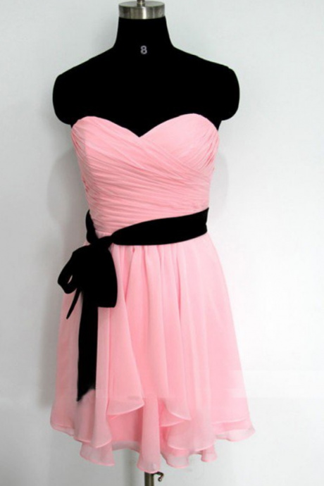 Pink Homecoming Dresses Zippers Sleeveless Chiffon Above Knee Sweetheart Neckline Empire