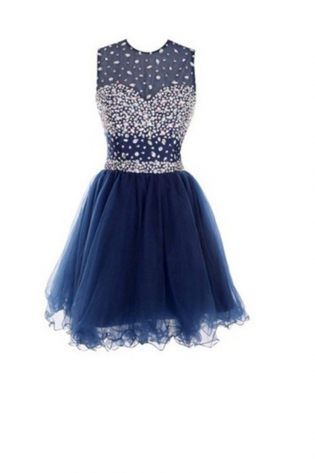 Blue Homecoming Dresses Sleeveless Aline Round Neck Zippers Mini Crystal Beads Ruffle