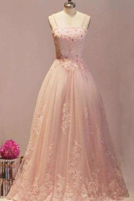 Blush Pink Prom Dresses,Ball Gown Prom Dresses,Quinceanera Dresses,Girly Prom Dresses For Teens,Evening Dresses,Lace Beading Party Dresses