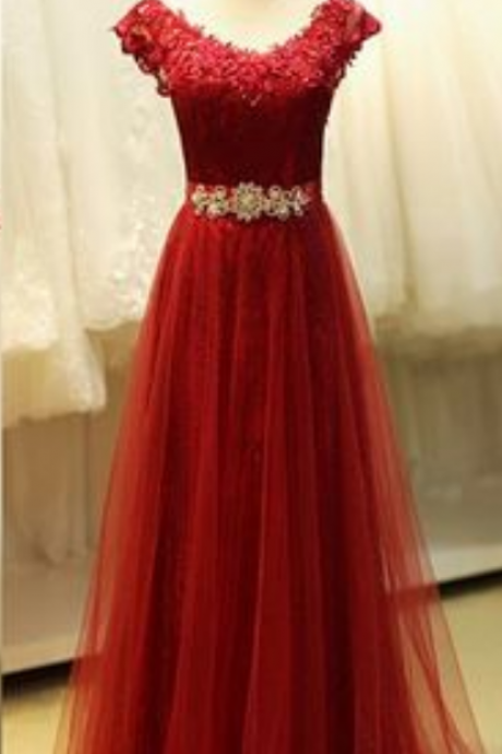 A-Line Red Applique Prom Dress,Evening Dress