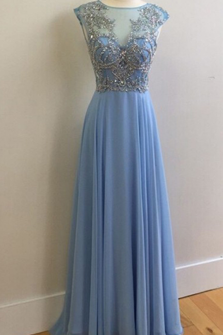Blue Prom Dresses,Chiffon Prom Dresses,Beading Prom Dresses,Sexy Prom Dresses,,Floor Length Party Dresses,Long Evening Dresses, Cheap Prom Dresses