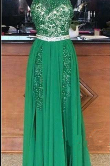Prom Dress,Sexy Prom Dress,Halter Prom Dress,Beaded Prom Dresses, Backless Prom Dresses, Green Prom Dress,High Quality Graduation Dresses,Wedding Guest Prom Gowns, Formal Occasion Dresses,Formal Dress