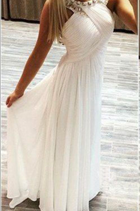 Prom Dress,Sexy Backless Prom Dress,White Chiffon Prom dresses,Custom Made Prom Dress,Long Prom Dresses, Prom Dresses,Prom Dresses
