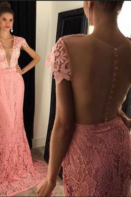 Cap Sleeve Peach Lace Mermaid Evening Prom Dresses, Sexy See Through Prom Dress, Custom Long Prom Dress, Cheap Party Prom Dress,