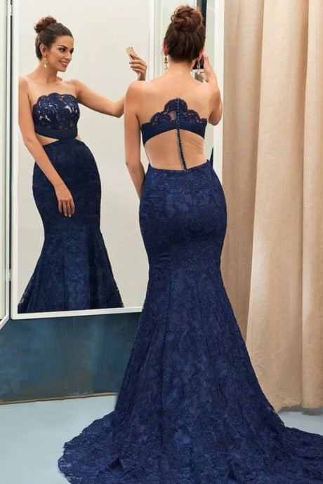 Vintage Lace Prom Dresses,Mermaid Prom Dresses,Navy Blue Evening Dresses