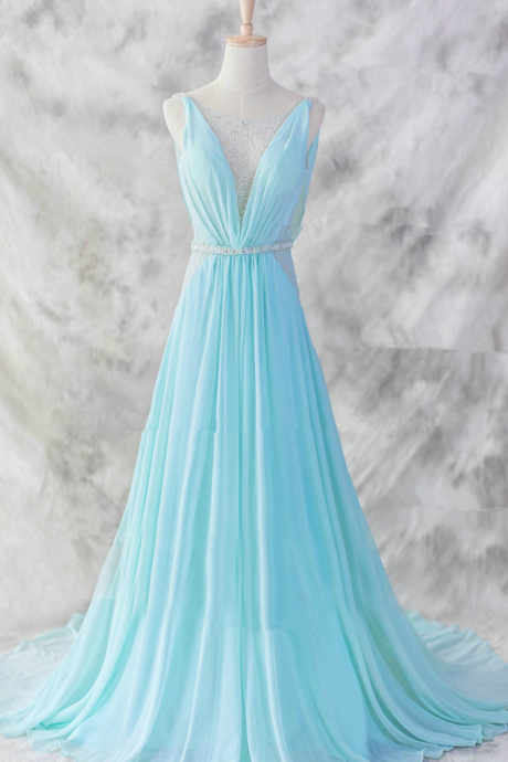 Blue Pretty Baby Blue Chiffon Floor Length V-neckline Prom Gown , Baby Blue Evening Dresses , Blue Formal Dresses, Formal Dresses