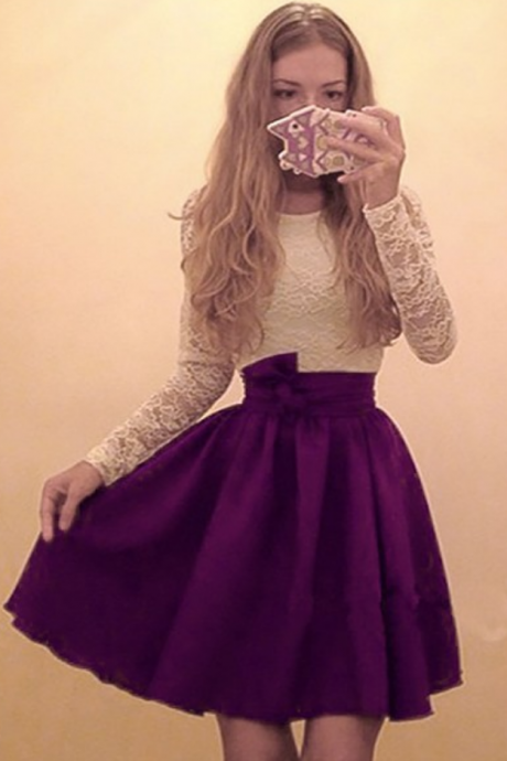 Purple Homecoming Dresses Zipper-Up Long Sleeves Chiffon Lace Short Round Neck A-Line/Column