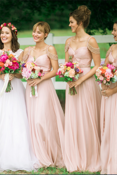 Bridesmaid dress, Ruched Bridesmaid Dress, Straps Bridesmaid dress, A-line Bridesmaid Dress, Chiffon Bridesmaid Dress, Beading Bridesmaid Dress, Wedding Party Dress