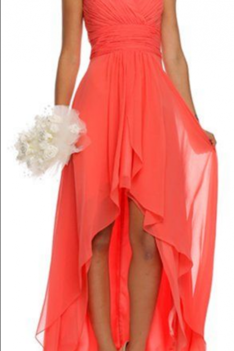 Hi-lo High Low Bridesmaid Dress, Waltermelon Bridesmaid Dresses, Chiffon Bridesmaid Dress