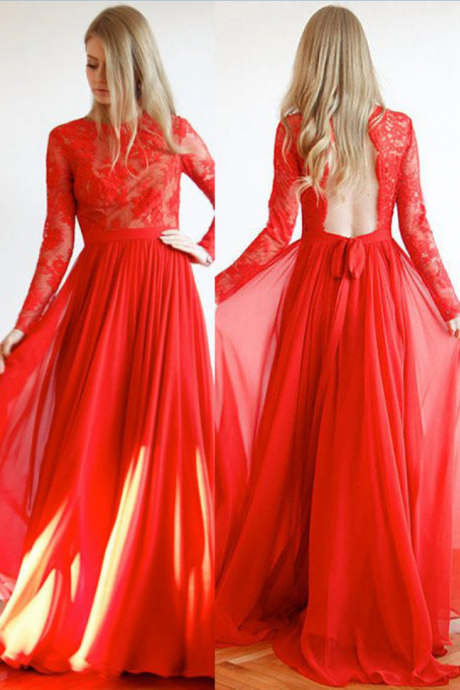 Red Backless Lace Long Sleeves Floor-length A-line Chiffon Prom Dresses Prom Gowns,Prom Dresses , Cheap Prom Dresses, Long Prom Dress
