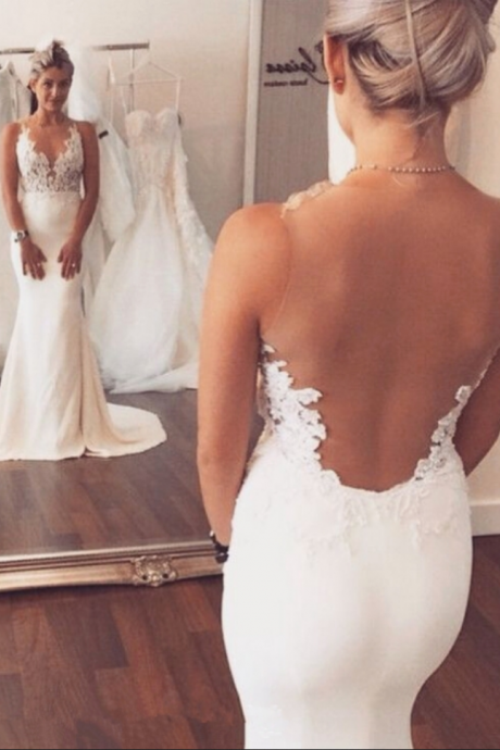 Lace Appliqués Plunge V Sleeveless Floor Length Mermaid Wedding Dress Featuring Illusion Open Back and Train