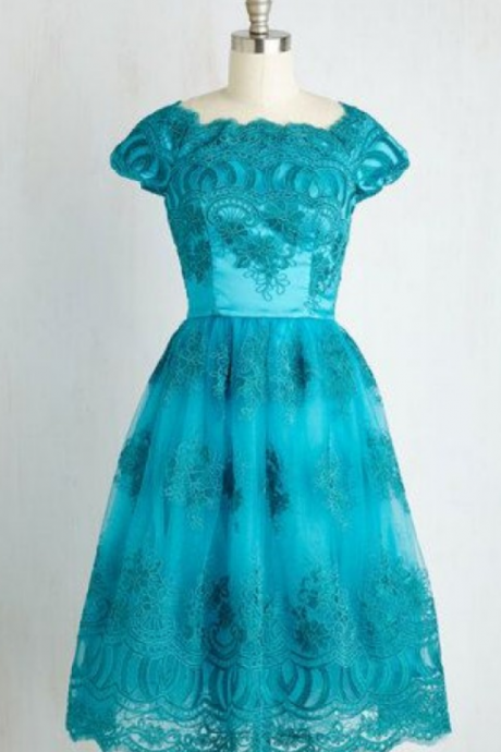 Capped Sleeves Turquoise Homecoming Dresses A-Line/Column Lace Above-Knee Round Neck Zippers A-Line/Column