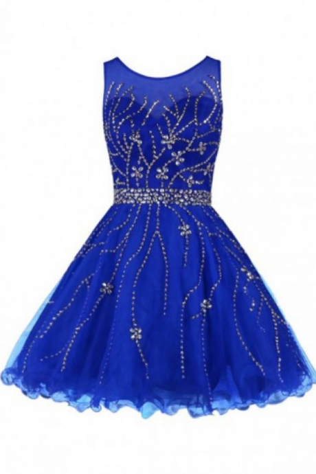 Royal Blue Homecoming Dresses Sleeveless Aline Bateau Hollow Above Knee Crystal Beads Ruffle