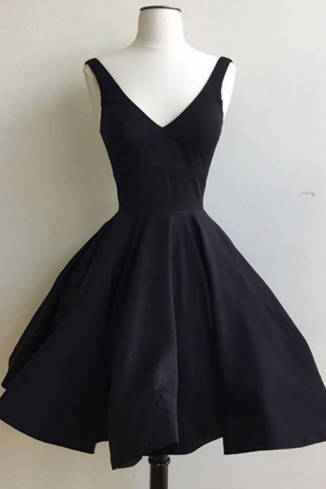 Black Homecoming Dresses Lace-Up Sleeveless Hem Above-Knee V Neck A lines