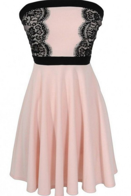 Homecoming Dress,Strapless Lace Homecoming Dress,Short/Mini Sleeveless Homecoming Dress Dresses
