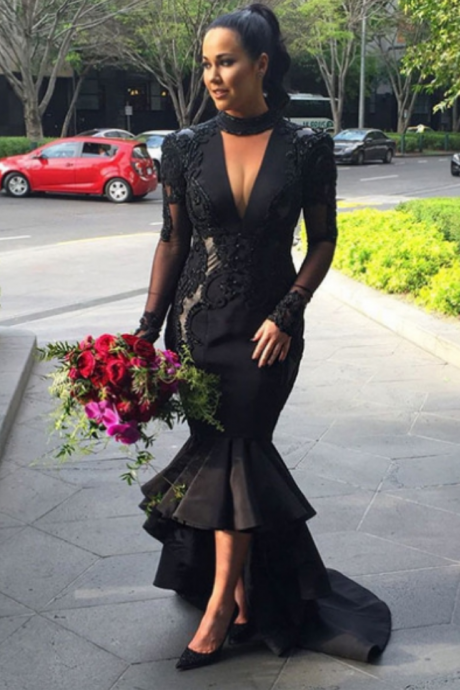 Black Puffy High-low Sheer Sleeves Mermaid Prom Dresses