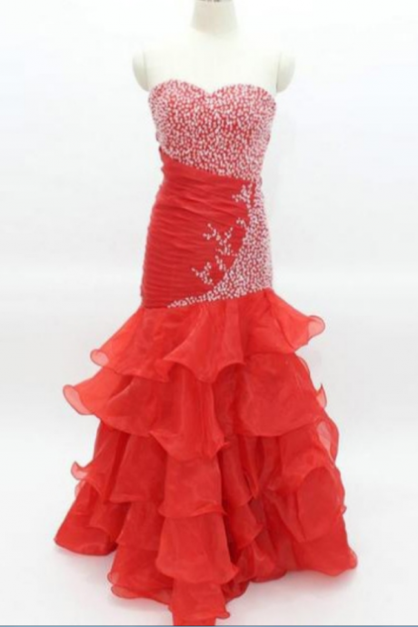 Red Long Trumpet/Mermaid Sweetheart Chiffon Prom Dresses