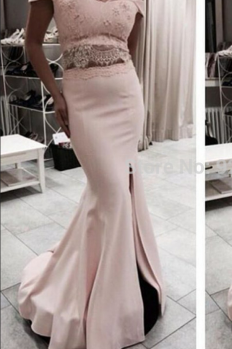 Pink Prom Dresses,2 Pieces Prom Gowns, Pink Prom Dresses,2 Piece Party Dresses,Long Prom Gown
