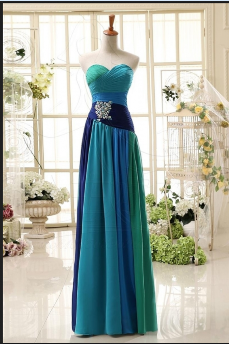 A-Line Sweetheart Chiffon Beaded Prom Dress,Evening Dresses,elegant prom dresses,