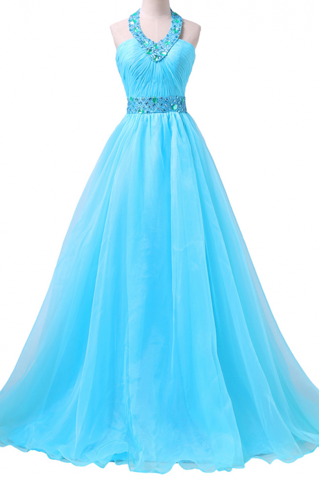 Fashionable Halter Prom Dress with Ruching Detail, Blue Chiffon Prom Gowns with Sweep Train, Beaded Prom Dresses,