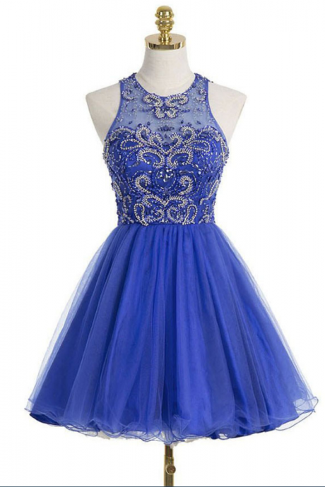 Princess Illusion Neck Tulle Homecoming Dress with Keyhole Back, Royal Blue Homecoming Dresses with Gorgeous Beads, Short Homecoming Dress,