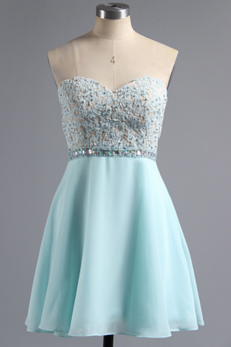Sweetheart Chiffon Homecoming Dress with Lace Appliques, Teal Homecoming Dress with Beaded Belt, Sleeveless A-line Short Homecoming Dress,