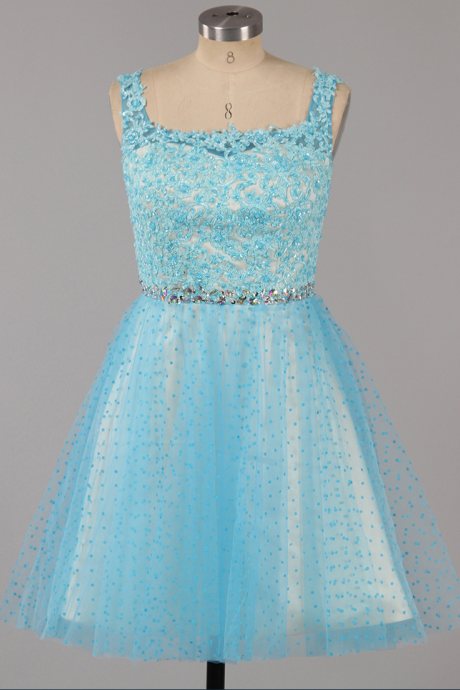 Ice Blue Square Neck Homecoming Dress with Beaded Belt, Princess Low Back Homecoming Dress, Tulle Mini Homecoming Dress with Lace Appliques,
