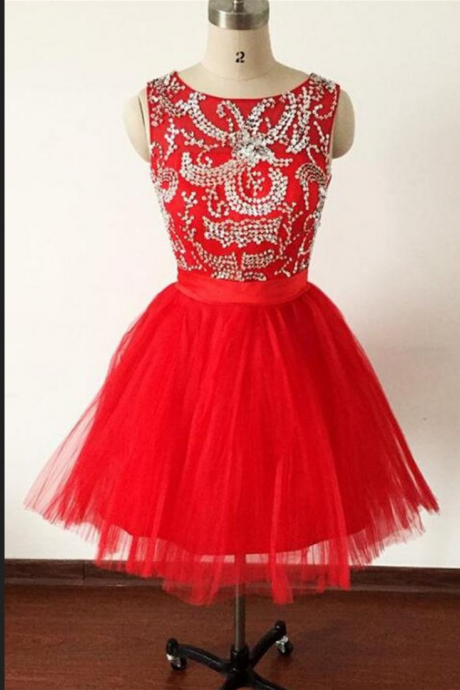 Sexy Prom Dress,Elegant Red Tulle Prom Dresses,Beaded Homecoming Dress