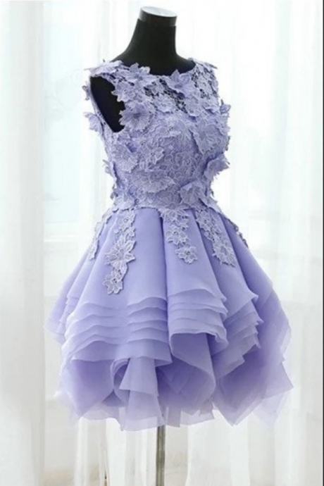 Lovely Short Party Dresses with Lace Applique, Cute Formal Dresses, Sweet 16 Party Dresses, Homecoming Dresses
