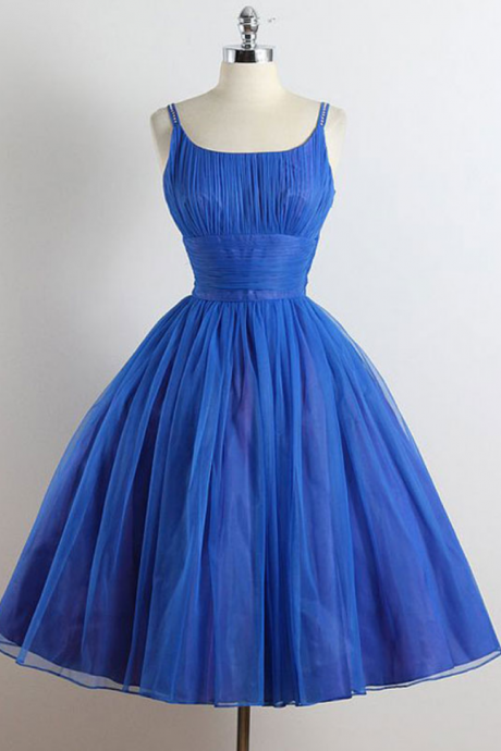 Royal Blue Scoop neckline Spagetti Strap A-line Organza Knee length Homecoming Dresses,Short Prom Dresses,short Cocktail Dresses,Short Party Dresses,Short Bridesmaid Dresses