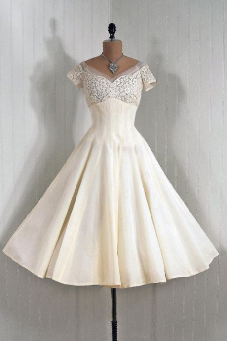 Vintage Prom Dresses, Mini Short Homcoming Dresses, Lace Party Dresses