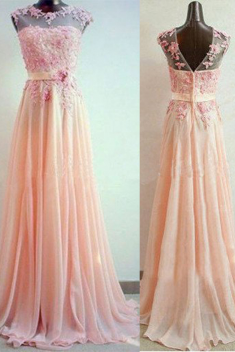 A-Line Sleeveless Natural ZipperSweep/Brush Train Chiffon Prom Dresses Prom Gowns,Prom Dresses , Cheap Prom Dresses, Long Prom Dress