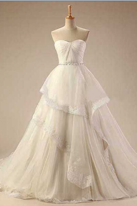 Strapless Sweetheart Ruched Ruffle Princess Ball Gown, Wedding Gown with Chapel Train